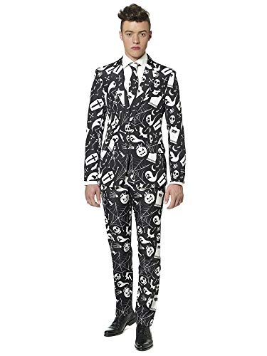 Coffin Halloween Costume (Suitmeister - Black Icons - Halloween Suit for Men in Stylish Print - Full Set: Includes Jacket, Pants and Tie -)