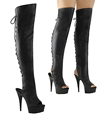 Exotic Pole Dancer Stripper Adult Unisex thigh high Boot. Pleaser Delight-3019 Black/Faux Leather/Black Matte Size - Dancer Stripper