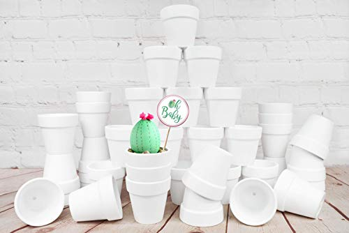 My Urban Crafts 40 Pcs - 2.5 inch Mini Clay Pots Small Terracotta Pots Ceramic Pottery Planters Cactus Flower Pot Succulent Nursery Pots Great for Plants, Crafts, Wedding Favors (Matte White Bisque)]()