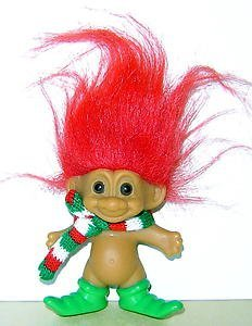 (Russ Holiday MERRY LITTLE ELF TROLL Lucky Doll Figure with RED Hair 4 Tall by Troll)