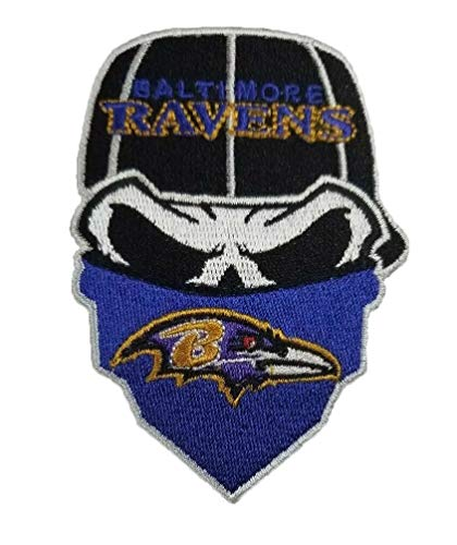 Baltimore Ravens Iron On Skull with Bandana Patch 2.5 x 3.55 inches