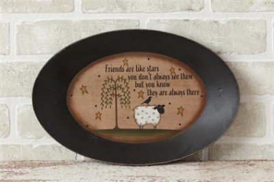 Rustic Country Primitive Decorative Plate Friends Are Like Stars Shelf Decor Sheep Willow Trees Stars (Willow Sheep Tree)