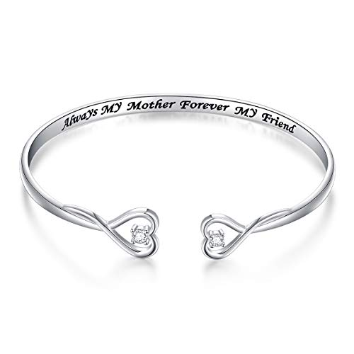 Mom Bangle Bracelet (Mother Gift Sterling Silver Always My Mother Forever My Friend Double Love Heart Bangle)