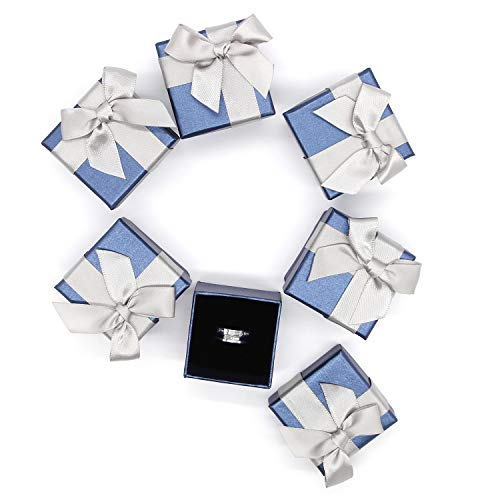Adecco LLC 6 Pack Jewelry Gift Boxes, Blue Bowtie Earring Boxes, Square Shape Ring Pendant Boxes