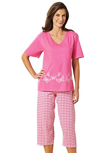 Printed Capri Set, Color Pink Butterfly, Size Extra Large (2X), Pink Butterfly, Size Extra Large (2X)