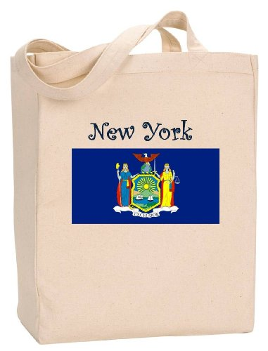 NEW YORK - FLAG - State Series - Natural Canvas Tote Bag with - Rodriguez Alex Giants