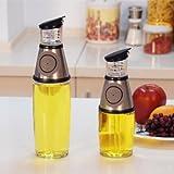 LittleSomethingTM Non Drip Press & Measure Stainless Steel Glass Oil Vinegar Bottle 500ml Weight Watcher