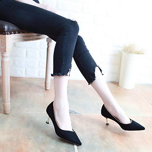 Single Seven Fine Women'S Pointcuts And Black The Diamond Thirty Autumn Suede Fashion Middle Shoes KPHY Shoes In Cats With Shallow 6BAw4q