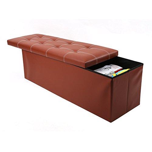 homfa faux leather folding shoe storage ottoman cubes bench storage ottoman bench foot rest. Black Bedroom Furniture Sets. Home Design Ideas