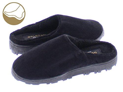 Gold Toe Boy's Clyde Corduroy Fleece Lined Memory Foam Indoor Outdoor House Slipper,Slip On Clog Shoe