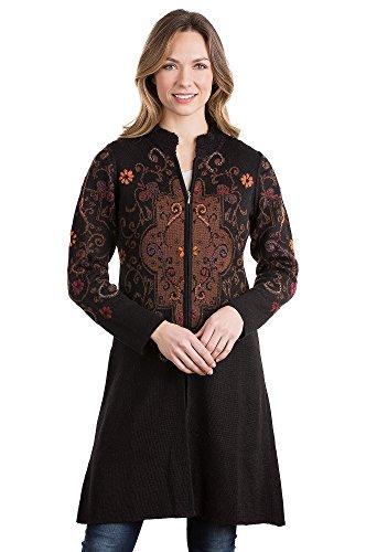 Puno Peruvian Alpaca Wool Sweater Jacket, BLACK/BROWN, Size LARGE (8-10)