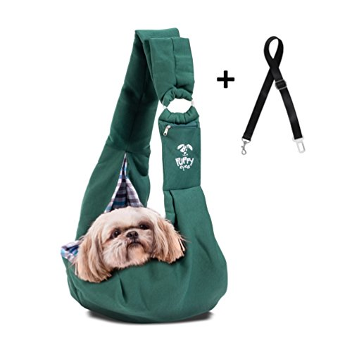 Pet Carrier Sling by Puppy Eyes | Ideal for small & medium dogs, cats or rabbits up to 15 lb. Comfortable & Easy-Care | Free Seat Belt & Ebook | Adjustable & Reversible design with Zippered pocket