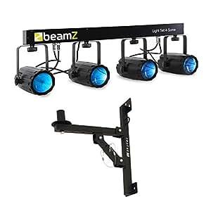 Beamz 4-Some Barra de focos LED para pared de 4 piezas (soporte giratorio, control música, microfono integrado)