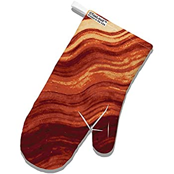 TOOLOUD Bacon Bacon Bacon White Printed Fabric Oven Mitt All Over Print