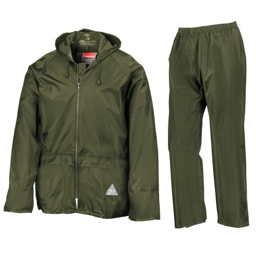 Result Mens Heavyweight Waterproof Rain Suit (Jacket & Trouser Suit) (XL) (Olive) ()
