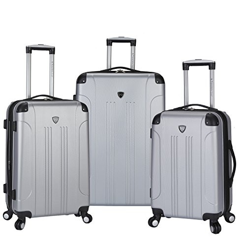 Travelers Club 3 Piece Original ''Chicago Collection'' Hardside +25% Expandable Luggage Set Includes 28'' Upright, 24'' Suitcase, and 20'' Carry-On Luggage, Silver Color Option by Traveler's Club