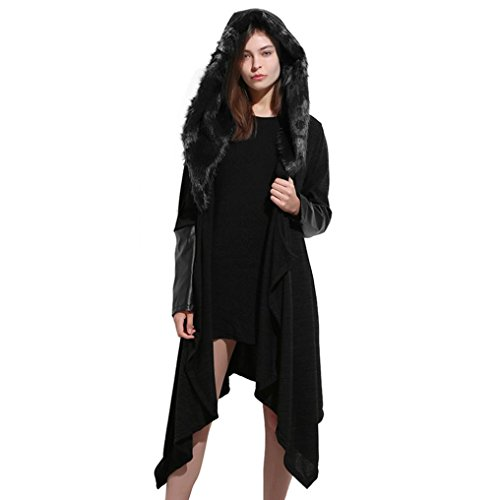 Auwer Womens Coat, Womens Hooded Warm Coats Parkas Luxury Faux Fur Panel Hooded Outwear Plus Size With Belt (5XL, Black)