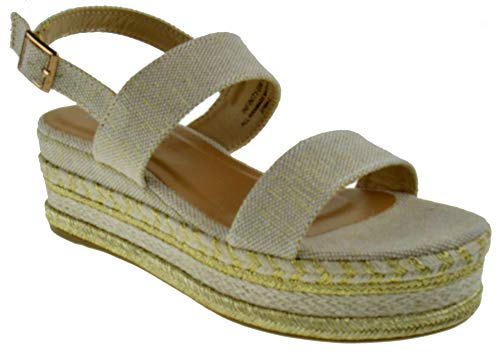 Bamboo Infinity 05M Womens Double Band Espadrilles Open Toe Platform Sandals Natural Linen 10 ()