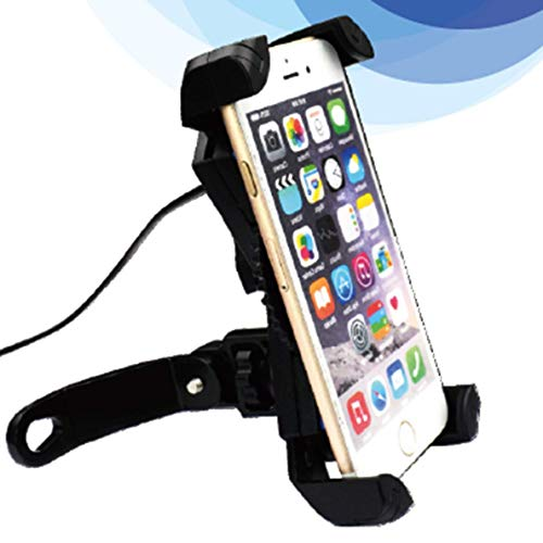 Motorcycle Phone Mount with USB Charger Port,DHYSTAR Electric Bike Motorcycle Cell phone Holder Stand Bracket Fits for iPhone/Samsung Galaxy Mobile Smartphones,GPS,Adjustable Clamp,on Handlebar/Mirror by DHYSTAR (Image #5)
