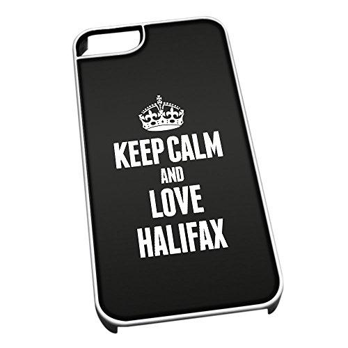 Bianco Cover per iPhone 5/5S 0294Nero Keep Calm And Love Halifax