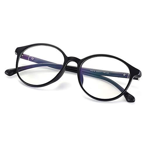 Fake Glasses Vintage Round Eyewear Frame Unisex Stylish Non-prescription Clear Lens Eyeglasses Fashion Glasses for Women Men Matte Black