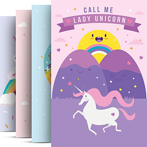 Pillow & Toast Unicorn Wall Art - Girls Room Decor - Unicorn Set of 4 Posters for Decorating - Unicorns Wall Decals Decoration - Bedroom Gifts for Girls