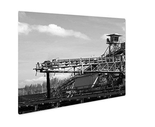 Ashley Giclee Large Conveyor Belt Carrying Coal And Emptying Onto A Huge Pile, Wall Art Photo Print On Metal Panel, Black & White, 8x10, Floating Frame, AG6176005