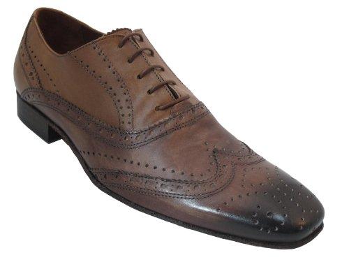 Davinci Mens Italiano Dressy Wingtip Oxford Scarpe 9114 Marrone