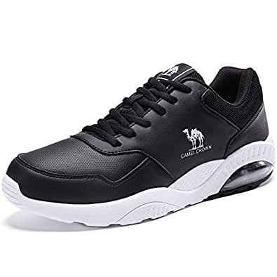 CAMEL CROWN Men's Sport Running Shoes Air Cushion Casual Sneakers Athletic Shoes Black 7.5
