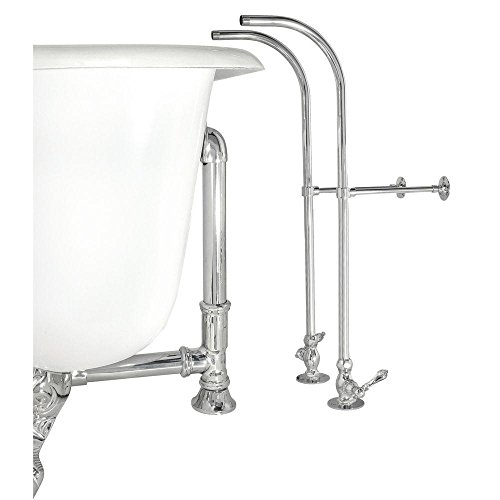 Elizabethan Classics ECFSSL02 SN Rigid Freestanding Supply Line with Plain Porcelain Lever Handles, Satin Nickel
