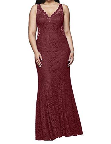 mia Burgundy Elegant Braut Ballkleider La Abendkleider Festlichkleider Spitze Etuikleider Promkleider Uebergroesse Meerjungfrau H14xqAw