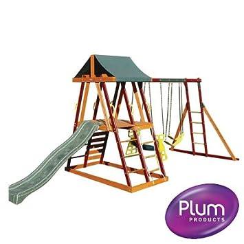 Plum Products Wooden Bellevue Kids Outdoor Garden Swing, Slide and ...