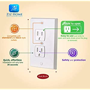 Ziz Home Self-Closing Outlet Covers | 4 Pack | White | Universal...