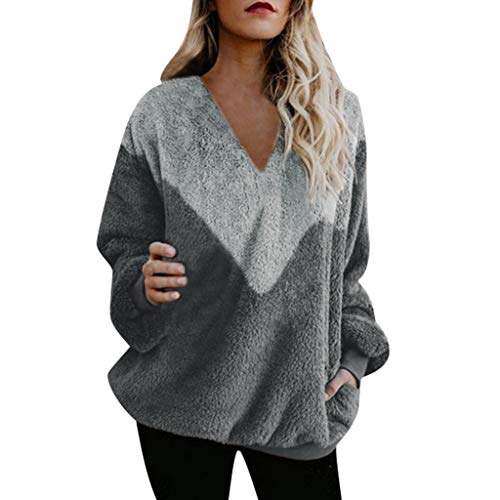 Women Long Sleeve Crew/V Neck Pullover Stitching Color Loose Knitted Sweater Jumper Top Slouchy Shirt Wifey  LIM&Shop
