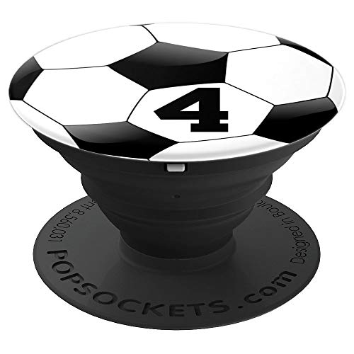 Soccer Ball Number 4 Player Team Black Zx - PopSockets Grip and Stand for Phones and Tablets