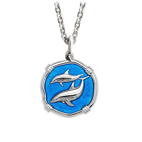 Guy Harvey Blue Enameled Dolphin Pendant Crafted in Sterling Silver on 18