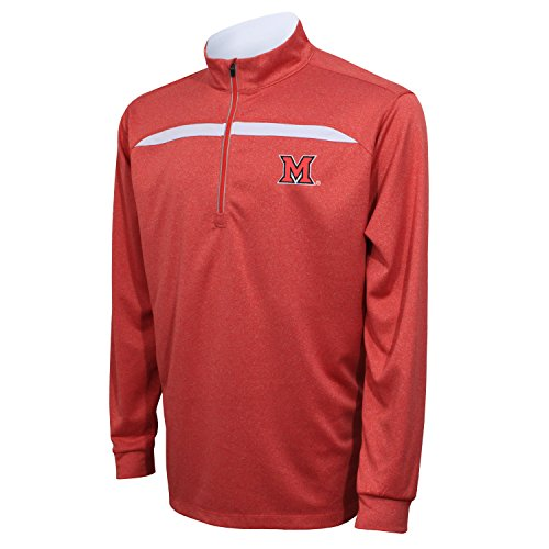 Crable NCAA Miami (Ohio) Redhawks Adult Men's Quarter Zip with Contrast Panel, Large, - Sweatshirt Arizona White