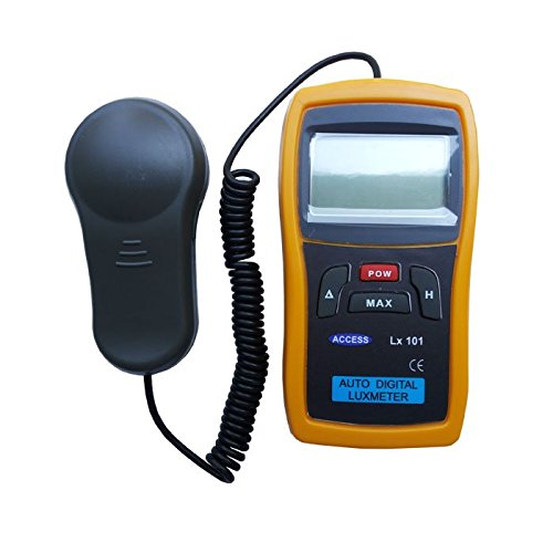 Digital Lux Meter (Light Intensity / Luminance Meter) Large 3.5 digit LCD  display, battery operated, hand held type with wire attached Sensor for  taking measurement at optimum position, measures 0.1 to over