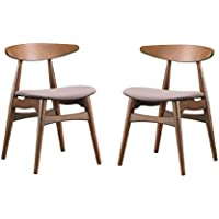 Baxton Studio Set of 2 Flamingo Mid-Century Dark Walnut Wood and Grey Faux Leather Dining Chairs