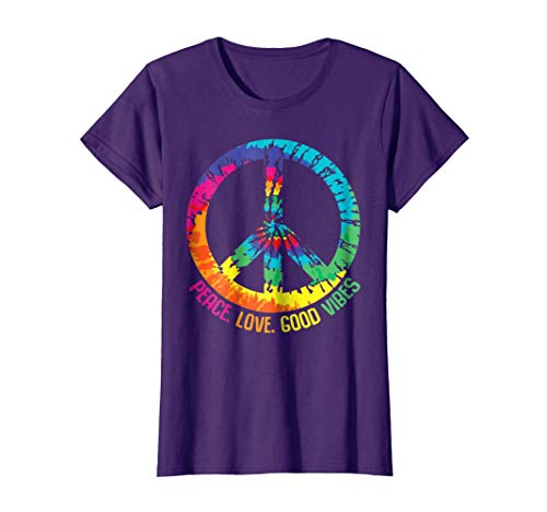 Womens Tie Dye Peace Love Good Vibes T-Shirt for 60s 70s Hippies XL Purple