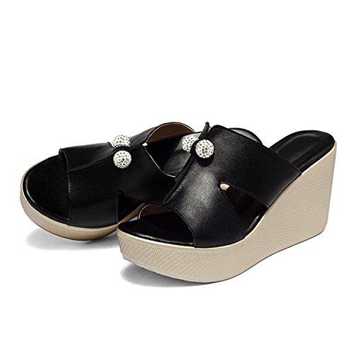 Confortable de Eté Casual Sandales Compensée Perles Vintage Tongs Femme Chaussure Sabots Vacances Mules Noir Frestepvie Plage xWzAq0nU0
