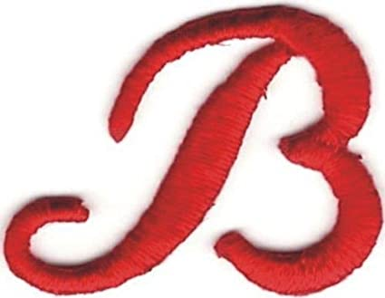 1x1 18 fancy red script cursive alphabet letter b embroidered patch