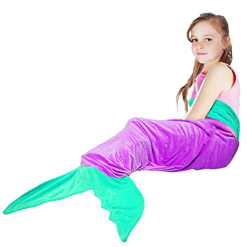 Mermaid Tail Blanket,Tysonir Super Soft and Warm Shark plush blanket Seasons Warm Soft Sleeping Bag Present for Girls kids (Purple)