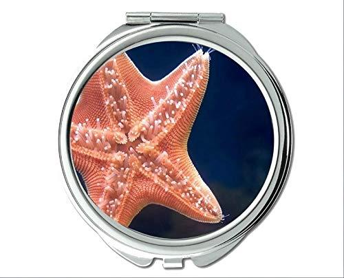 (Mirror,makeup mirror,tropical fish theme of Pocket Mirror,portable mirror 1 X 2X Magnifying)