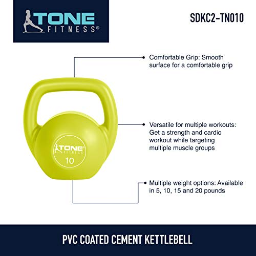 Tone Fitness Vinyl Kettlebell, Lime, 10-Pound by Tone Fitness (Image #5)