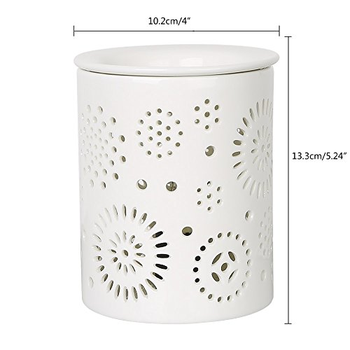 COOSA Ceramic Sunflower Pattern Oil Warmer Electric Incense Wax Tart Burner Fragrance Candle Wax Warmer Night Light Aroma Decorative Lamp for Home Office Bedroom Living Room Gifts & Decor