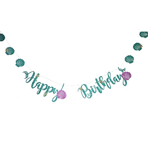 Glitter Happy Birthday Banner Blue Letter Purple Shell Buntings Under The Sea Party Theme Girl Decorations 75D happy birthday]()