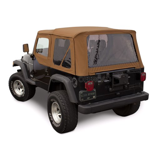 (Sierra Offroad Jeep Wrangler TJ (1997-2002) Factory Style Soft Top with Tinted Windows, with matching Upper Door Skins Spice Denim)
