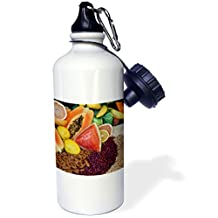 """3dRose WB _ _ _ _ _ _ _ _ _ _ 188368_ _ _ _ _ _ _ _ _ _ 2,5cm South America, Mexico, Tecate. Fruit and grains at Rancho La Puerta. """"El Deporte botella de agua, 21oz, color blanco"""