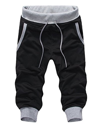 SoEnvy Men's Casual Harem Training Jogger Sport Short Baggy Pants Small Black 2